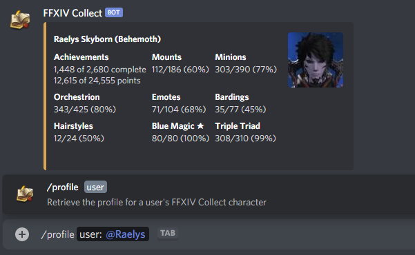 Discord Commands - FFXIV Collect